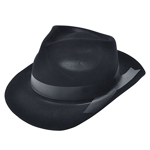 Flock Gangster Hat (Black Adults Flocked Gangster Hat)