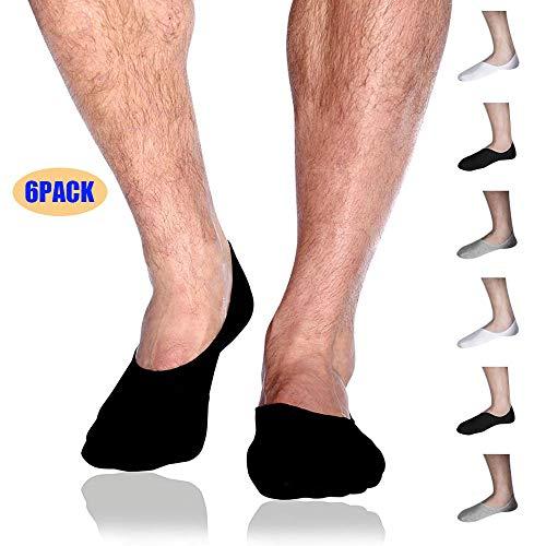 Mens No Show/Low Cut Socks for Men 6 Pack,Mens No-Slip Grip Socks Ship Loafer Casual Cotton Socks(White,Black,Grey)