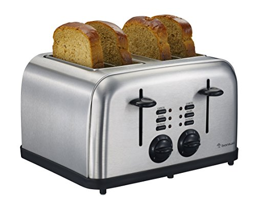 Bonsaii T866 4-Slice Bagel or Bread Toaster, Defrost and Cancel Function, Easy Clean Removable Crumb Tray and Variable Browning Control, Stainless Steel Housing, Perfect for Home Office