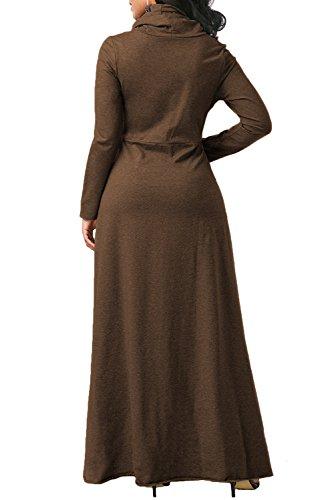 Manga alto largo Pullover T Cuello mujer Vestido Sudadera Maxi de dXYn8pwPx