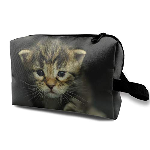 Travel Makeup Cosmetic Bag Brush Pouch Cats Kittens Dressed Up Zipper Pen Organizer Carry -