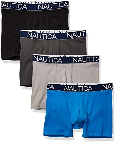 Nautica Men's Cotton Stretch 4 Pack Boxer Brief, Black/Charcoal/Alloy/Capri Blue, Large