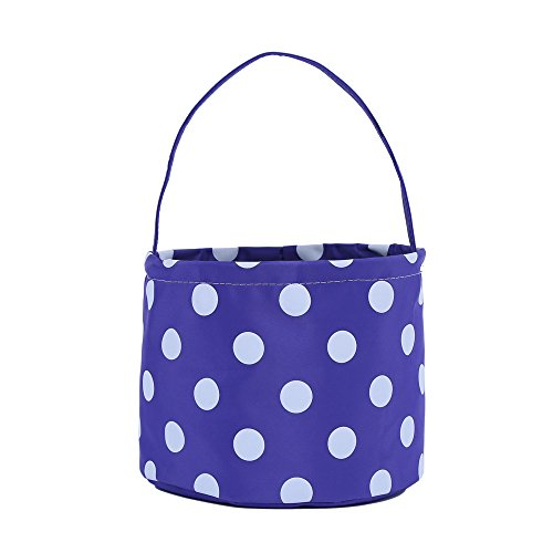 E-FirstFeeling Halloween Bags Trick or Treat Bags Halloween Basket Candy Gift Bucket Tote Bag - Blue Dot