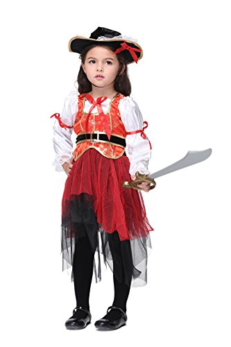 Vivihoo EK021 Children's Halloween Party Costume Skirt Cosplay Pirate Dance Dress (M) (Cute Indian Costumes For Girls)
