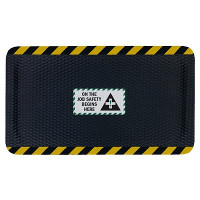 Nitrile Rubber Hog Heaven™ Safety Message Anti-Fatigue Mats - On The Job Safety - 3'w x 5'l, Black/Yellow Border ON THE JOB SAFETY BEGINS HERE - Vertical -7/8''