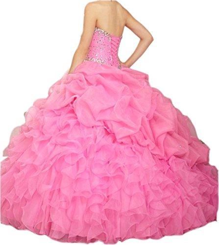 Pink Ball Gown Ballkleid Women's Beaded Fanciest 2016 Hot Kleid Blue Lang Abendkleider Quinceanera qgEnPCxw