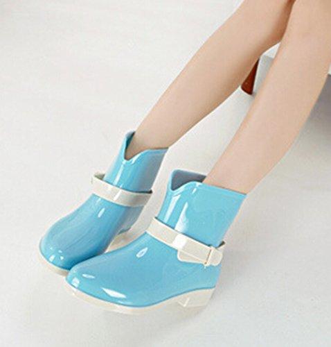 Baci Oro (tm) Color Caramelle Da Ragazza In Morbida Gomma Ankle Stivali Da Pioggia Blu