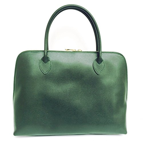 Sac cuir main CIRC A4 véritable Saffiano Format Italie vert Fabriqué Model SUPERFLYBAGS en foncé à en EadIqq