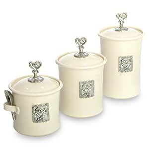 cream kitchen canisters artisans domestic ceramic canister set of 3 11253