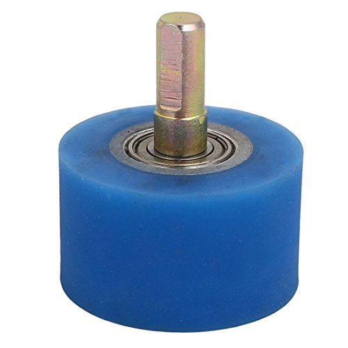Aexit 10mm Dia Material handling Shaft 50mmx30mm Coating Machine Silicon Rubber Wheel Roller Blue Model:86as157qo434