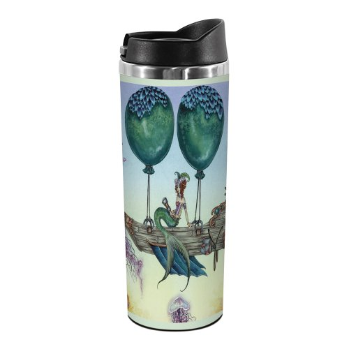 Tree-Free Greetings TT01586 Amy Brown Fantasy 18-8 Double Wall Stainless Artful Tumbler, 14-Ounce, Dreaming on Aquamarine Tides
