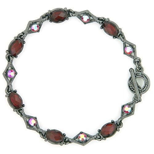 1928 Jewelry Blaze Siam Diamond Shape Toggle Bracelet
