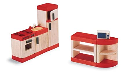 Pintoy: U0026quot;Kitchen Setu0026quot; Dollhouse Furniture Wooden Accessory Set  Compatible With Doll Houses