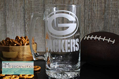 Green Bay Packers Jumbo 28.5oz Hand Etched Glass Beer Mug by AM Designwerks