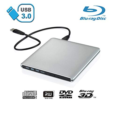Xglysmyc USB 3.0 External Blu-ray CD DVD Drive,Portable Ultra-Thin 3D Blu-ray Player DVD+/-RW Burner Writer Reader for Laptop Notebook PC Desktops Support Windows XP/Vista/7/8/10, Mac OSX -Silver