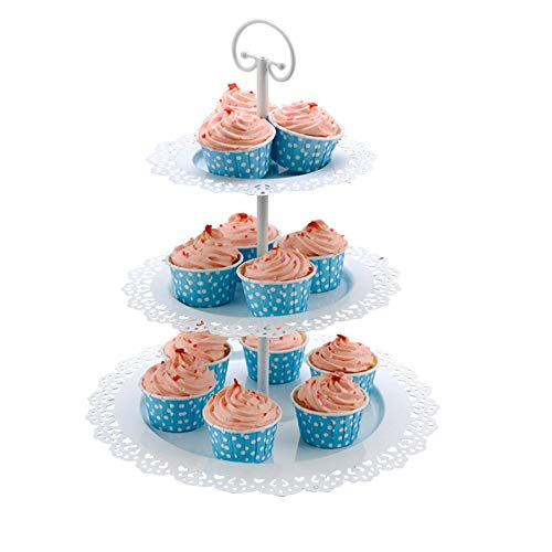 Wideny 3 Tier Metal Cake Stand and Fruit Plate, Cupcake Holder Display Buffet Stand for Wedding Home Decor Birthday Party and Other Occasions yz1819 ()