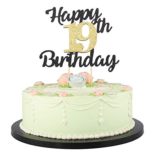 LVEUD Happy Birthday Cake Topper Black Font Golden Numbers 19th Birthday Happy Cake Topper -Birthday Party Decorations (19th)]()