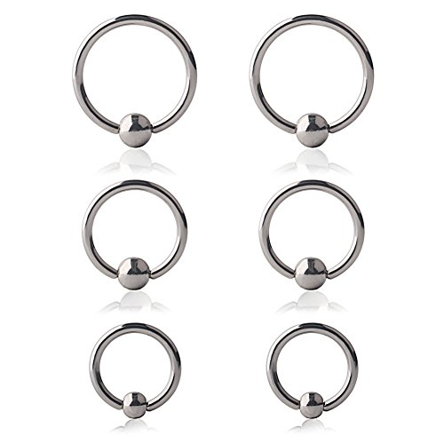 Body Nipple Ring Captive Jewelry (Ruifan 6PCS Surgical Steel Captive Bead Rings Prince Albert PA Nipple Nose Eyebrow Tragus Lip Ear Hoop Ring Piercing 14G 10MM,12MM,14MM)