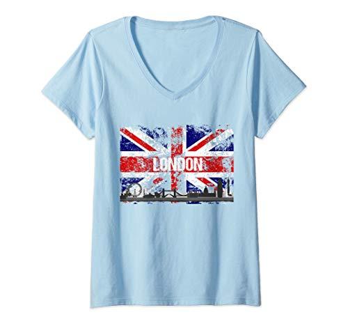(Womens London Skyline Distressed Union Jack Flag Souvenir Gift V-Neck T-Shirt)