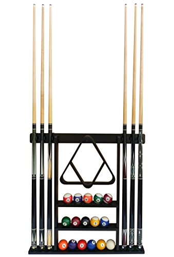 (Flintar Wall Cue Rack, Stylish Premium Billiard Pool Cue Stick Holder, Made of Solid Hardwood, New Improved Wall Mounting Hardware L Bracket Included, Cue Rack Only, Black Finish)