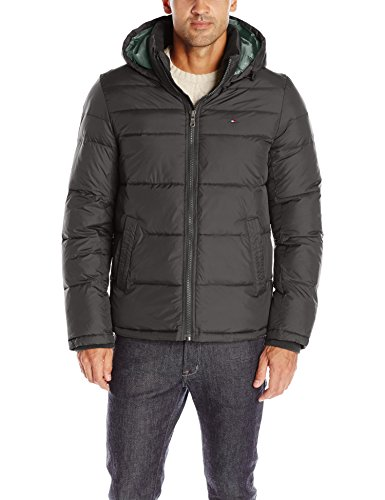 Tommy Hilfiger Men's Classic Hooded Puffer Jacket, Black, L (Winter Coat For Men On Sale)