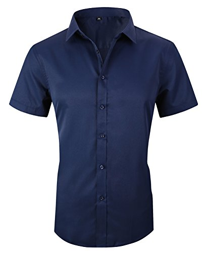 JHVYF Men's Casual Short Sleeve Business Slim Fit Button Down Dress Shirts 2618 Navy AS 4XL/US L ()