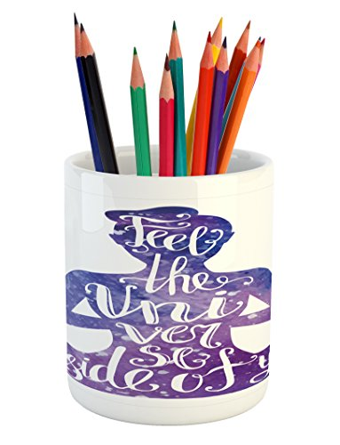 Ambesonne Yoga Pencil Pen Holder, Female Silhouette with Watercolor Space Design Inspirational Quote Meditation, Printed Ceramic Pencil Pen Holder for Desk Office Accessory, Violet and White by Ambesonne