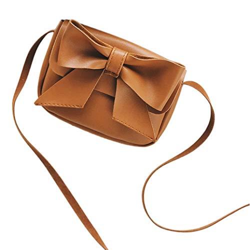 (Cute Bowknotl Leather Handbag,Outsta Children Girls Shoulder Bag Mini Crossbody Bag Waterproof Casual Multicolor New (Brown))