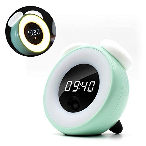 VIKICHY Cute Alarm Clock with Demmer Touch Control Clock for Kids Smart Sensor Light for Girls's Gift Green