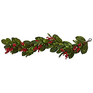 GREATHOPES 5' Magnolia Berry Pine Artificial Garland Decoration Silk Flowers 106
