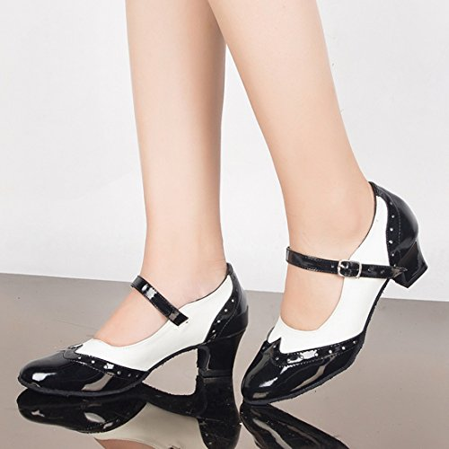 Latin Mary Toe Heel Shoes Evening Leahter 5cm MGM PU Ballroom Janes Sandals White Dance Modern Women's Wedding Joymod Salsa Black Closed Buckle Tango wxg7ExB