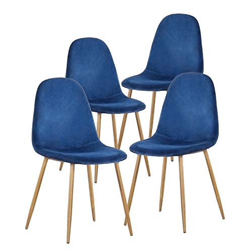 (GreenForest Dining Chairs for kitchen, Mid Century Modern Side Chairs,Velvet Upholstered Dining Chair with Metal Legs set of 4,Blue )