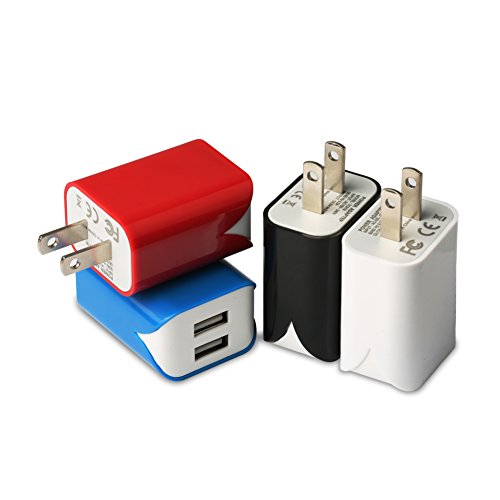 free shipping USB Wall Charger, [4-Pack] 5V/2.4A Colorful Dual Port Portable Wall Charger Home Travel Plug Power Adapter for iPhone X/8, Samsung Galaxy Note8/S8/S8+, Nexus, HTC and More