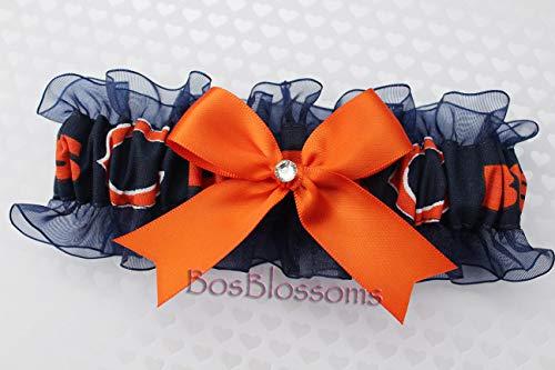 Customizable - Chicago Bears fabric handmade into bridal prom navy organza wedding keepsake garter with orange bow wks (Chicago Bears Wedding)