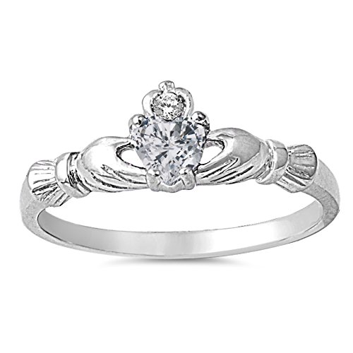 925 Sterling Silver Faceted Natural Genuine White Topaz Claddagh Heart Promise Ring Size 1