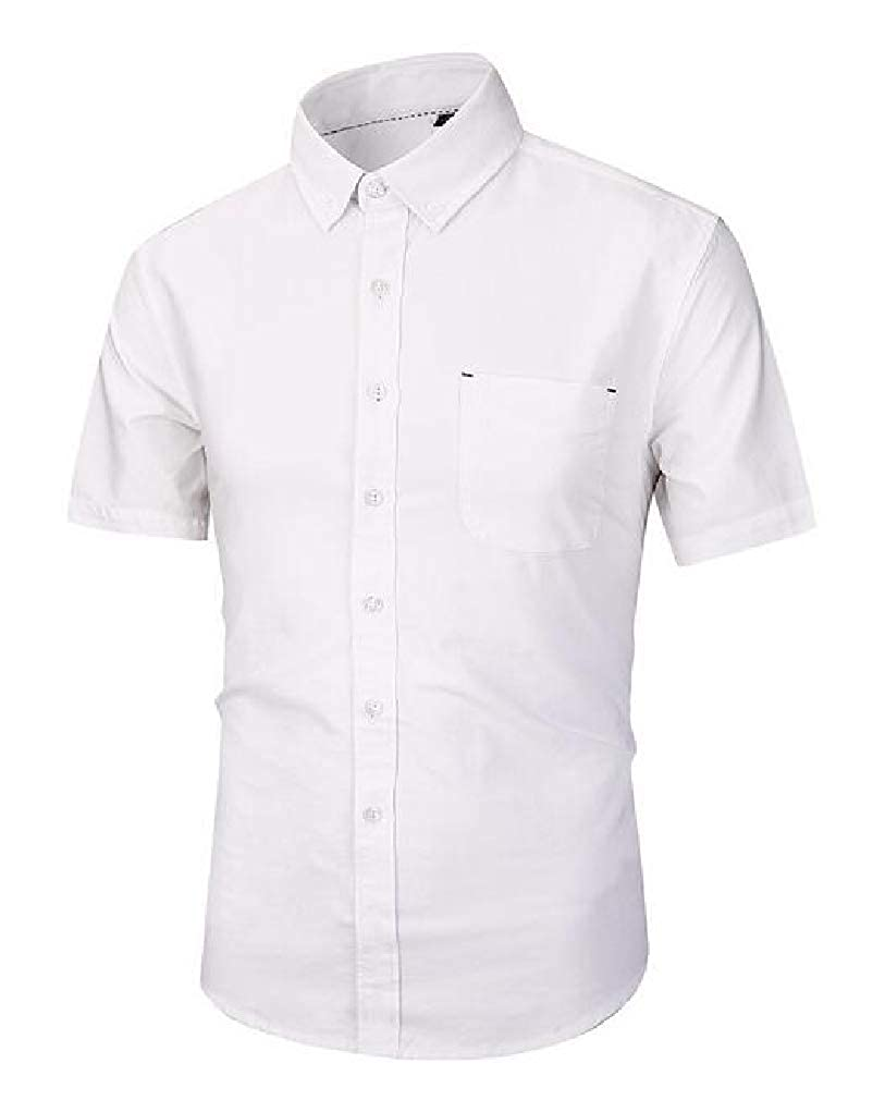 JuJuTa Mens Summer Slim Button Down Short-Sleeve Oxford Shirt