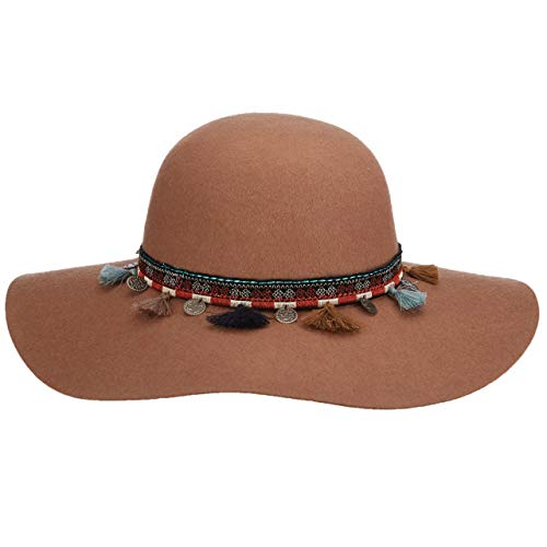 Scala Collezione Camel Round Crown Wool Felt 4 in. Soft Brim Ribbon, Charms, Tassels -