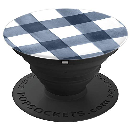 Navy Blue and White Buffalo Plaid Gingham Check  - PopSockets Grip and Stand for Phones and Tablets