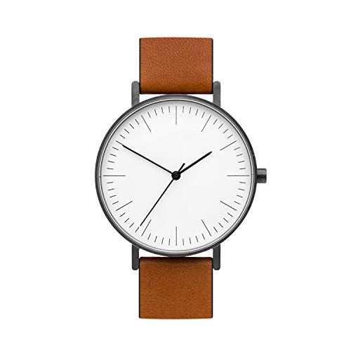 BIJOUONE B002 Classic Watches | 40 MM Analog Swiss Quartz Minimalist Tan Leather Watch