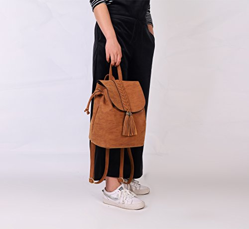 Party à Dating Grand PU Femme Filles Sac Brun dos voyager Shopping Broderie Sac Bohemian Soft pour à Mini Holiday dos 1qUanAd
