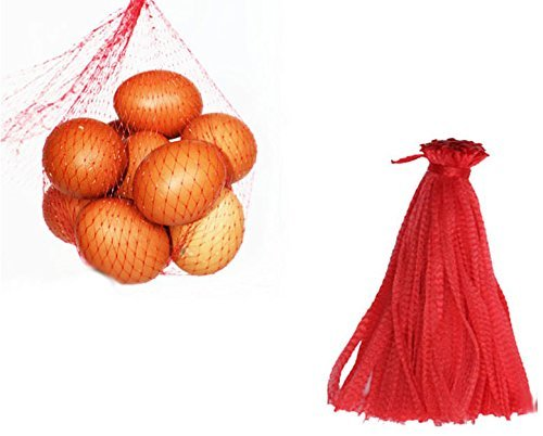 M-Aimee Mesh Bags for Produce Net Seafood Fruit Reusable Vegetable Plastic Bag 19.5,Package of 100 (Red)