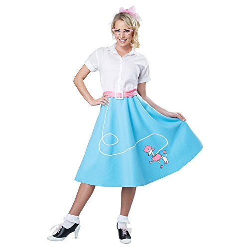 California Costumes Women's 50'S Poodle Skirt Adult Woman Costume, Blue, Large/XLarge by California Costumes