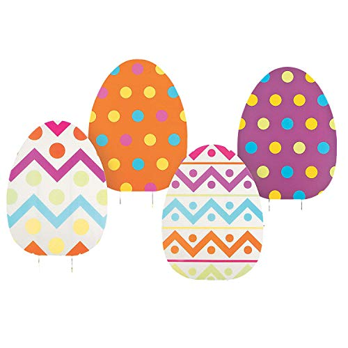 (ASSORTED PRINTS Set of 4 whimsical colorful large Jumbo Spring Easter Egg Yard sign garden decoration)