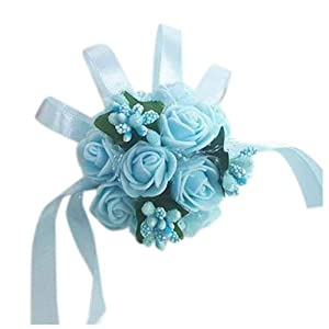 Artificial & Dried Flowers - Wrist Corsage Bracelet Bridesmaid Sisters Hand Flowers Wedding Party Bridal Prom Light Blue - Peony Turquoise Accessories Slap Dark Girl Wedding Lavender Lily Bl 77