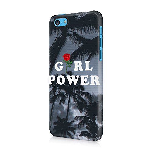 Red Rose Girl Power Tropical Palms Apple iPhone 5c Plastic Phone Protective Case Cover