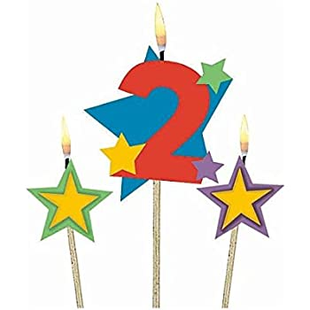 Amscan Party Time Stars And Number 2 Celebration Candle On A Stick Pack Of 3