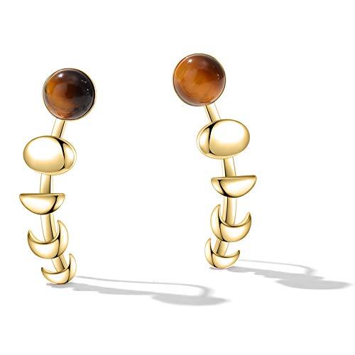 Gold Plated Earrings for Women Girls Gestone Tiger Eye Stone Earrings Moon - Gold Eye Tigers Plated