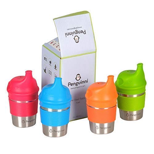 Silicone Lids and Stainless Steel Sippy Cup by Penguinni - 8oz - 4 Pack - Spill Proof and No Leaks - Non Plastic and BPA Free - for Toddler Boys ()