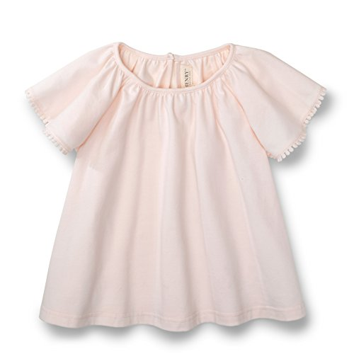 Hope & Henry Girls Light Pink Knit Flutter Sleeve Top Made With Organic Cotton
