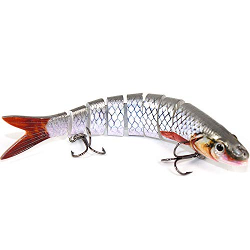 Alilure Fishing Lures Multi Jointed 8 Segment Swimbaits Slowing Sinking Crankbaits Bass Pike Muskie Hard Bait Rattles Traps with Mustad Hooks 5.3